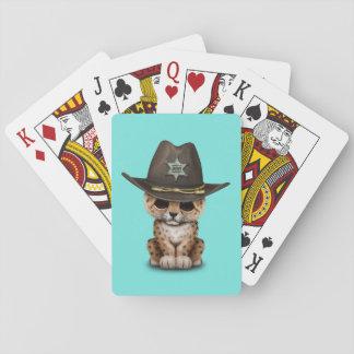 Cute Baby Leopard Cub Sheriff Poker Deck