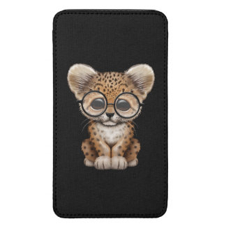 Cute Baby Leopard Cub Wearing Glasses, Black Galaxy S5 Pouch