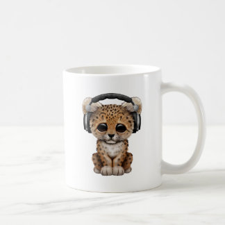 Cute Baby Leopard Wearing Headphones Coffee Mug
