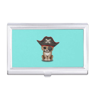 Cute Baby Lion Cub Pirate Business Card Holder