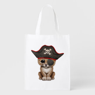 Cute Baby Lion Cub Pirate Reusable Grocery Bag