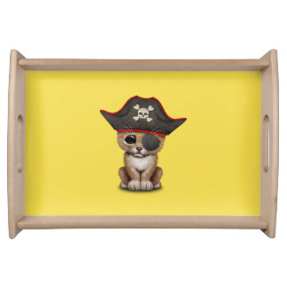 Cute Baby Lion Cub Pirate Serving Tray