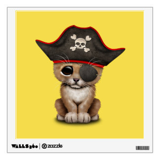 Cute Baby Lion Cub Pirate Wall Decal