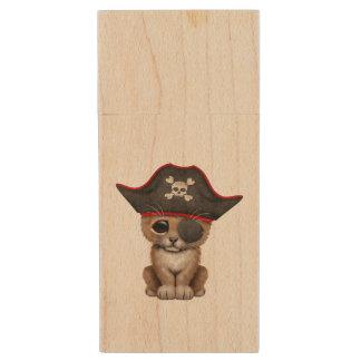 Cute Baby Lion Cub Pirate Wood USB Flash Drive