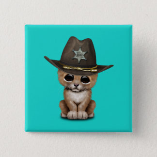 Cute Baby Lion Cub Sheriff 2 Inch Square Button