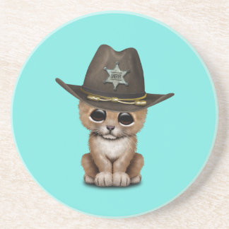 Cute Baby Lion Cub Sheriff Beverage Coasters