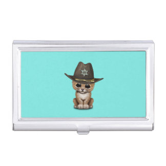 Cute Baby Lion Cub Sheriff Business Card Holder