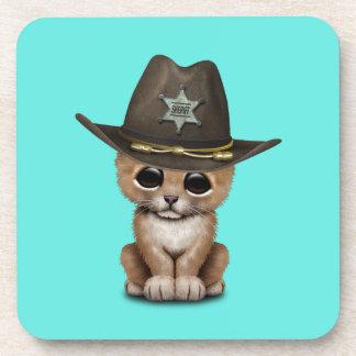 Cute Baby Lion Cub Sheriff Coaster