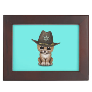 Cute Baby Lion Cub Sheriff Keepsake Box