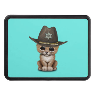 Cute Baby Lion Cub Sheriff Trailer Hitch Cover