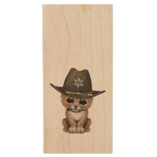 Cute Baby Lion Cub Sheriff Wood USB Flash Drive