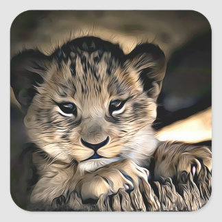 Cute Baby Lion Cub Stickers