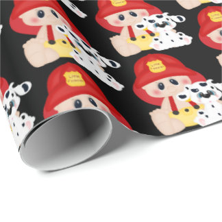 Cute baby little fireman tiled wrapping paper