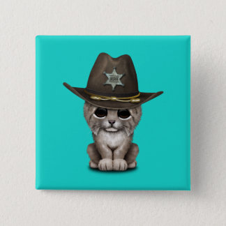Cute Baby Lynx Cub Sheriff 2 Inch Square Button