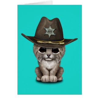 Cute Baby Lynx Cub Sheriff Card