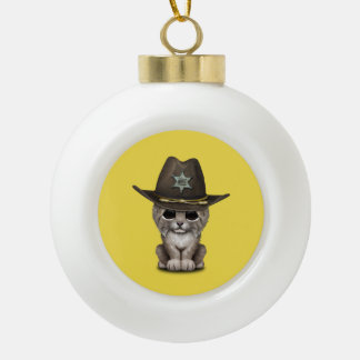 Cute Baby Lynx Cub Sheriff Ceramic Ball Christmas Ornament