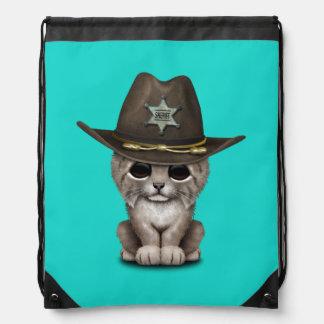 Cute Baby Lynx Cub Sheriff Drawstring Bag