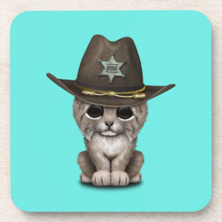 Cute Baby Lynx Cub Sheriff Drink Coasters
