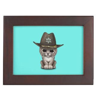 Cute Baby Lynx Cub Sheriff Keepsake Box
