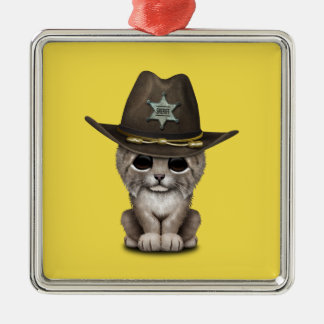 Cute Baby Lynx Cub Sheriff Metal Ornament