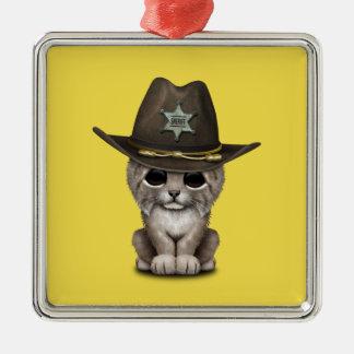 Cute Baby Lynx Cub Sheriff Metal Ornament