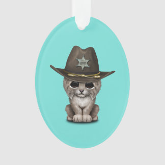 Cute Baby Lynx Cub Sheriff Ornament