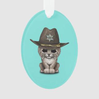 Cute Baby Lynx Cub Sheriff Ornament