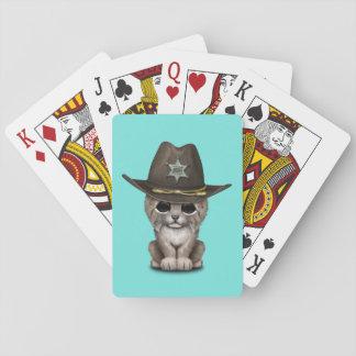 Cute Baby Lynx Cub Sheriff Playing Cards