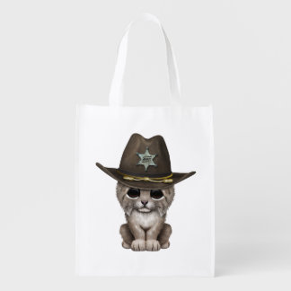 Cute Baby Lynx Cub Sheriff Reusable Grocery Bag