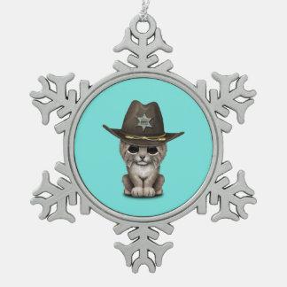Cute Baby Lynx Cub Sheriff Snowflake Pewter Christmas Ornament