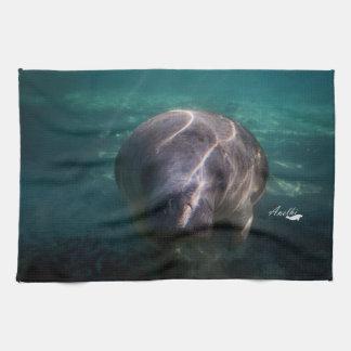 Cute baby manatee kitchen towel