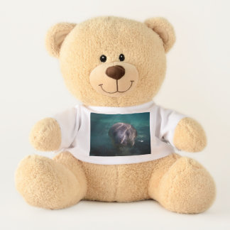 Cute baby manatee teddy bear with t-shirt