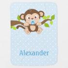 Cute Baby Monkey Blue Polka Dots Baby Blanket