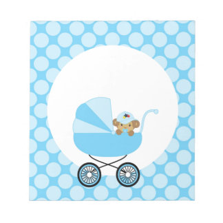 Cute Baby Monkey In A Blue Carriage Notepad