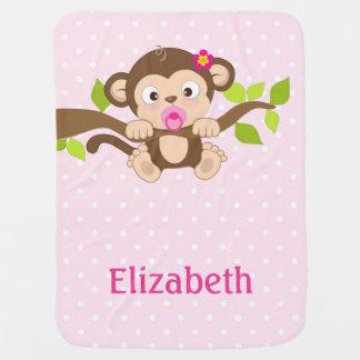Cute Baby Monkey Pink Polka Dots Baby Blanket