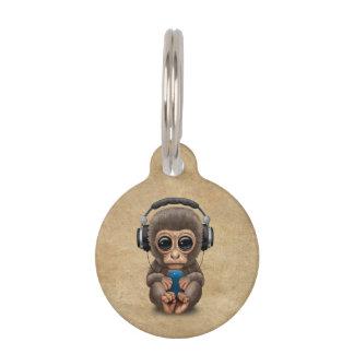 Cute Baby Monkey Wearing Headphones Pet Name Tag