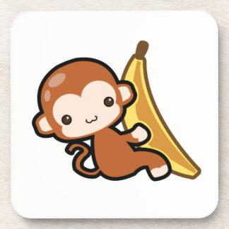 Cute Baby Monkey Whit A Banana Coaster