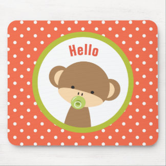 Cute Baby Monkey with a Pacifier on Polka Dots Mouse Pad
