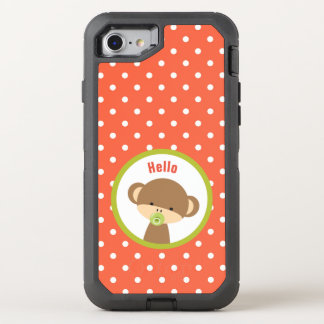 Cute Baby Monkey with a Pacifier on Polka Dots OtterBox Defender iPhone 7 Case