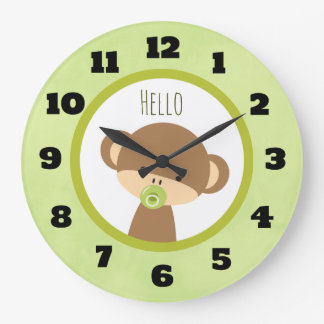 Cute Baby Monkey with a Pacifier Saying Hello Large Clock