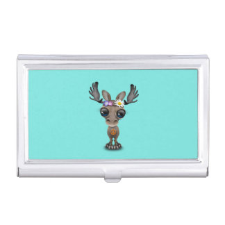 Cute Baby Moose Hippie Business Card Holder