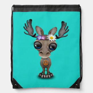 Cute Baby Moose Hippie Drawstring Bag
