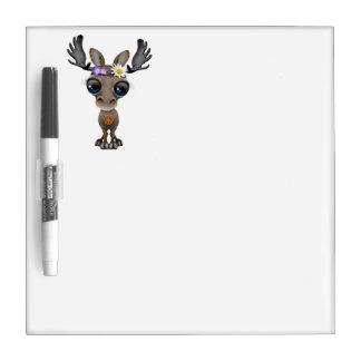 Cute Baby Moose Hippie Dry Erase Board