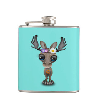 Cute Baby Moose Hippie Hip Flask