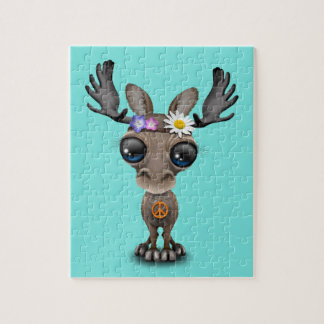 Cute Baby Moose Hippie Jigsaw Puzzle