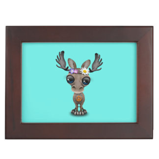 Cute Baby Moose Hippie Keepsake Box