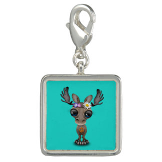 Cute Baby Moose Hippie Photo Charm
