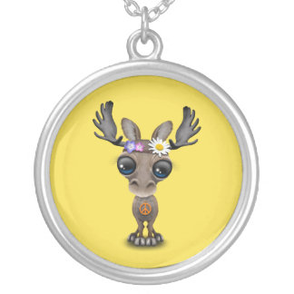 Cute Baby Moose Hippie Silver Plated Necklace