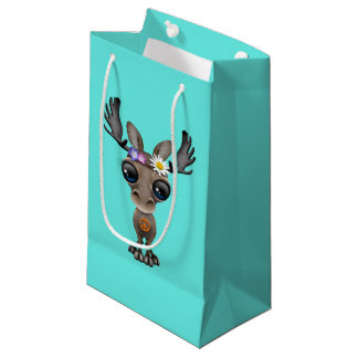 Cute Baby Moose Hippie Small Gift Bag
