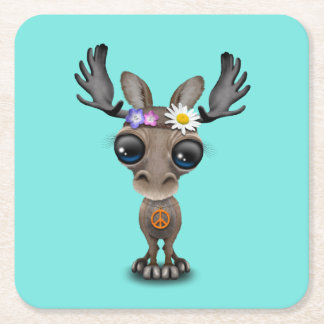 Cute Baby Moose Hippie Square Paper Coaster